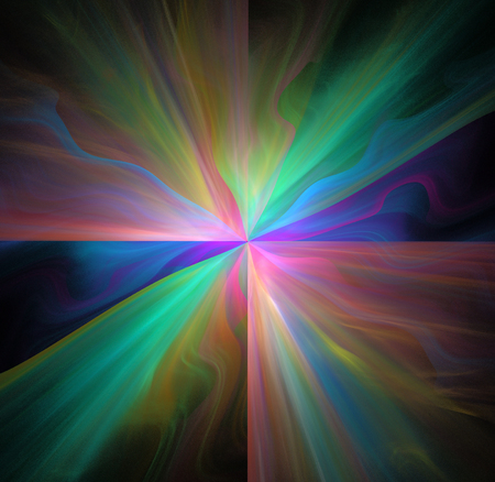 spectral colour: Abstract black background with rainbow colored star or rays in the center texture, fractal