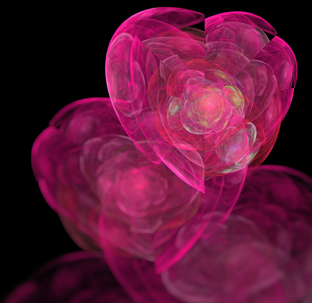 semitransparent: Abstract black background with pink and magenta colored hearts - rose, red, blue, turquoise, green - texture, fractal