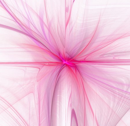 Abstract white background with pink colored floral or flower texture in the center, fractal Stock Photo