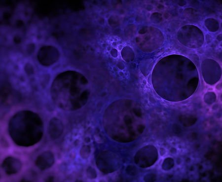 Abstract black background with dark blue foam or bubbles closeup texture, fractal