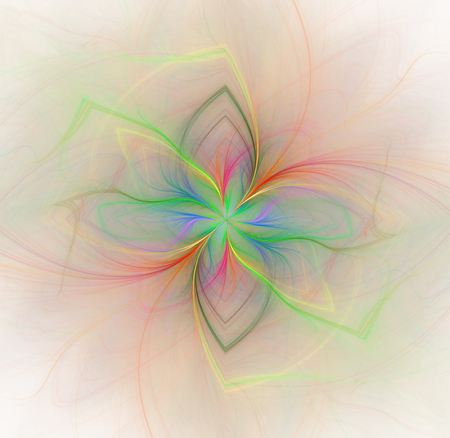 Abstract white background with rainbow - green, red, blue - colored flower in the center texture, fractal