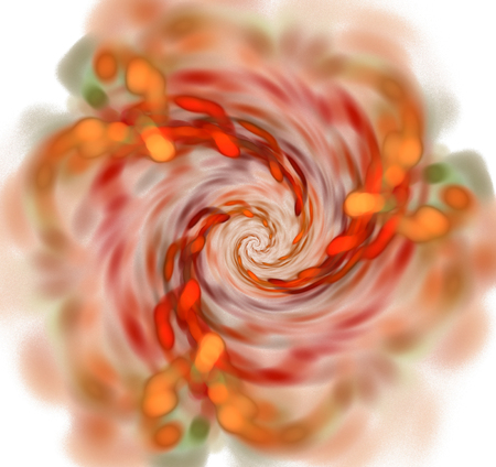 Abstract white background with red and orange spiral texture
