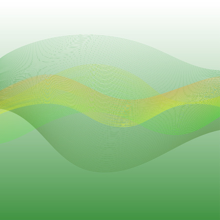 Abstract green background with green, yellow and orange colored waves and lines in the center texture, in vector