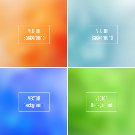 photography backdrop: Set of abstract blurred defocused backgrounds, orange, blue and green colored, in vector Illustration