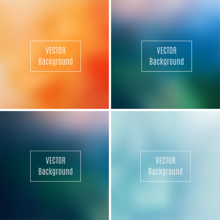 photography backdrop: Set of abstract blurred defocused backgrounds, orange, blue and dark green colored, in vector