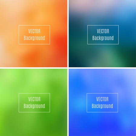 photography backdrop: Set of abstract blurred defocused backgrounds, orange, blue, dark green and light green colored, in vector