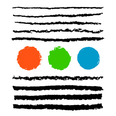 Collection of black pencil stroke brushes with red, green, blue grunge circles as an example of use