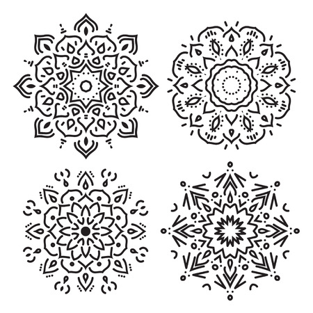 Set of line circle ornaments in vector, isolated black on white Vectores