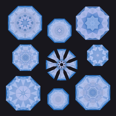 Set of blue polygonal snowflakes on almost black, in vector Illustration