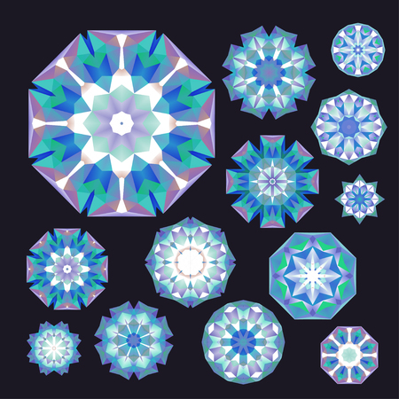 Set of blue, turquoise and violet polygonal geometric flowers or snowflakes on almost black, in vector