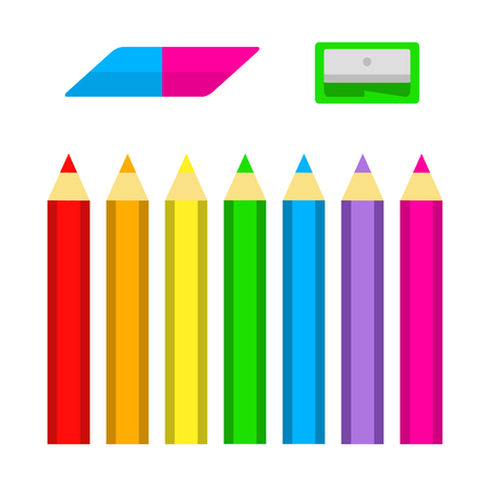 Set of colored pencils with sharpener and eraser in flat style isolated on white background, in vector