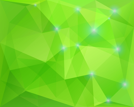 Abstract polygonal geometric background, green colored, with sparkles, in vector