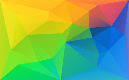 Polygonal triangle rainbow background, yellow, green and blue color texture, in vector
