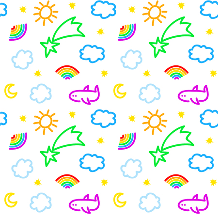 Seamless pattern with sky objects, in vector Illustration