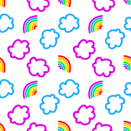 Rainbow and clouds seamless pattern Illustration