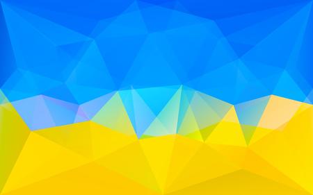 Abstracte polygonale geometrische achtergrond met gele en blauwe driehoek textuur, in vector Stock Illustratie