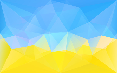 Abstract polygonal geometric background with blue and yellow triangle texture, in vector Ilustração