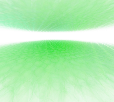 Abstract greenery background with white horizon. Green floor and ceiling with rays texture. Sea and sky panoramic view. Optimistic and fresh. Fractal digital pattern.