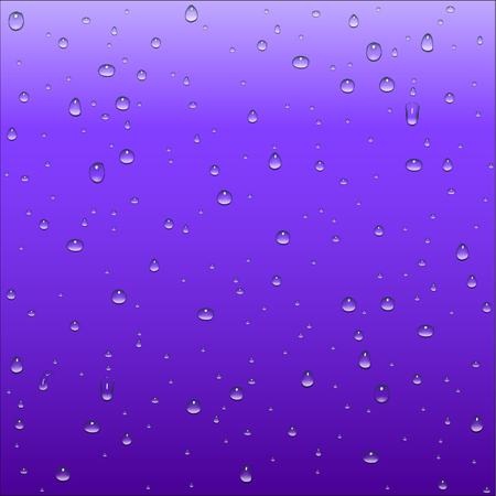 thirsty: Abstract purple and blue gradient background with clear water drops texture, vector illustration Illustration