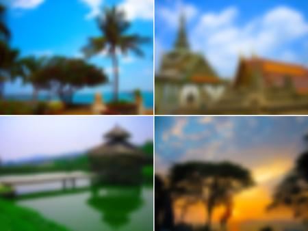 オレンジ色の寺院、緑のヤシの木、青い空、水、橋、アジア旅行の背景のセットぼやけたテクスチャ、4 x 3、ベクトル