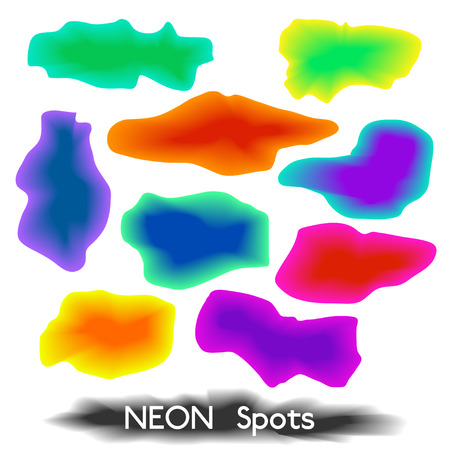 spectral colour: Set of multicolored neon spots, blots or splash textures for background, in vector