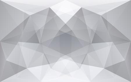 White and soft grey polygonal geometric background, symmetrical texture, in vector Vektoros illusztráció