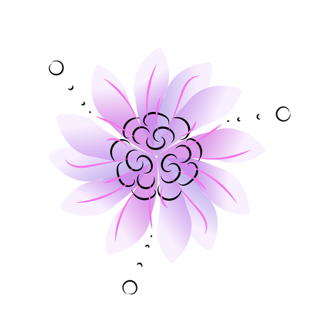 Circle ornamental blue or purple flower with three-fold symmetry, nice for decoration, vector illustration