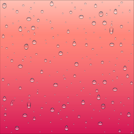 thirsty: Abstract red and peach pink gradient background with clear water drops texture, vector illustration Illustration