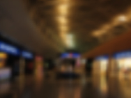 Brown and blue airport or mall background with bright lights and blurred texture, in vector