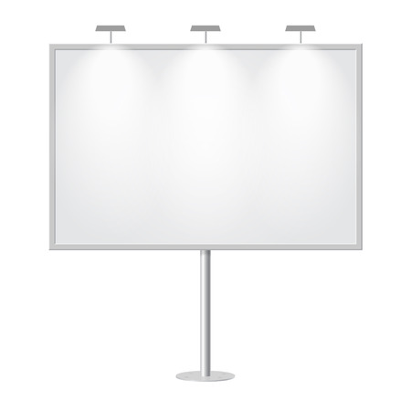 street lamp: Blank billboard with empty copy space, stand on one bar support. Outdoor board with single stand, in vector. White mockup with frame for message, commercial or presentation, rectangle and horizontal.