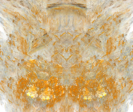 White abstract background with exploding orange fire or flowers texture. Red symmetrical flame shaped fractal pattern, centered.