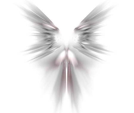 shaped: White abstract background with wings texture. Grey symmetrical fractal rays shaped pattern. Stock Photo