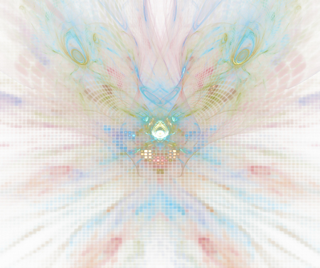 shaped: White abstract background with pixelated orchid flower texture. Pink and turquoise symmetrical fractal flower shaped pattern.