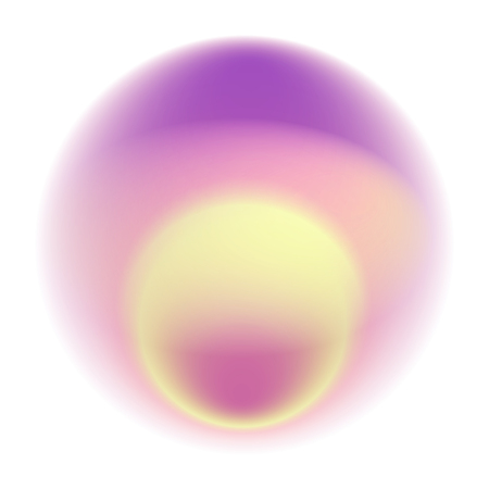 Pink gradient circle isolated on white background. Yellow blurred sunrise pattern. Purple radial spot with soft pastel texture.