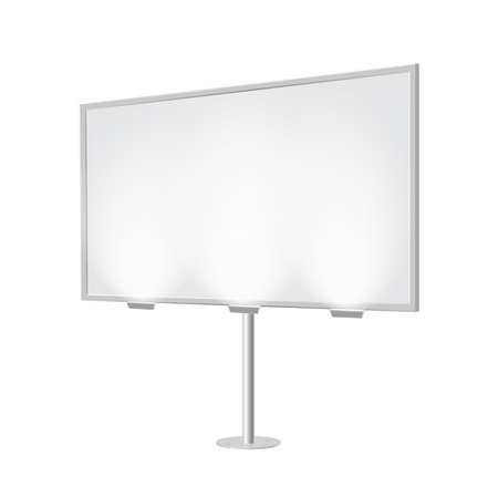 Outdoor board with single stand, in vector. Blank billboard with empty copy space, stand on one bar. Highlighted with lamps, in perspective. White mock-up with frame for commercial or presentation.