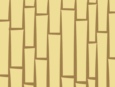 Bamboo stylized abstract background. Asian wooden fence or curtain, suitable for booklet decoration, vector pattern. Yellow and brown poles texture, vertically covering the space. Vectores