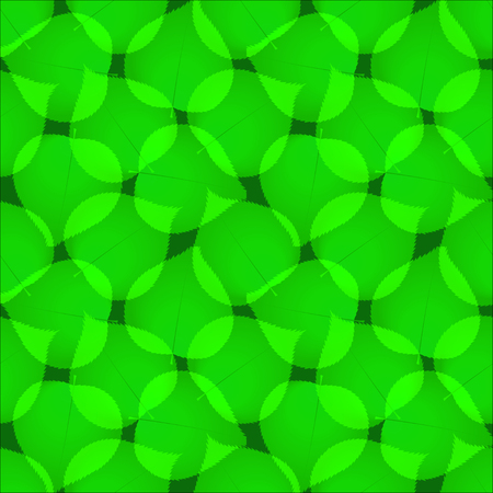 Green abstract leaves seamless vector pattern. Greenish leaf repeated tiles on dark background. Transparent dense greenery overlapping texture.