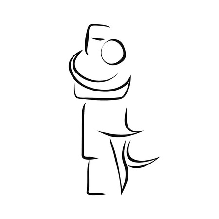 Forro dance couple together cheek to cheek. Brazilian national dancing icon in simple clear lines, in vector.