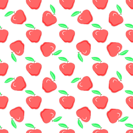 Food fashion design with healthy fruits evenly distributed on light backdrop, vector texture. Red apples on white background, seamless pattern.