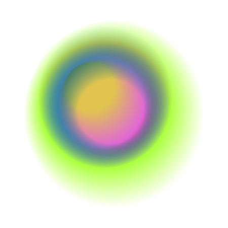 Green gradient circle isolated on white background. Blue round spot with rainbow colored texture. Pink blurred vector pattern.