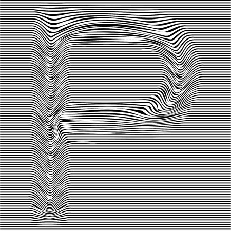 Striped typeface with geometrical pattern letter P of a Latin font. Vector lettering with glitch effect, black horizontal distorted alphabet stripes on transparent background.