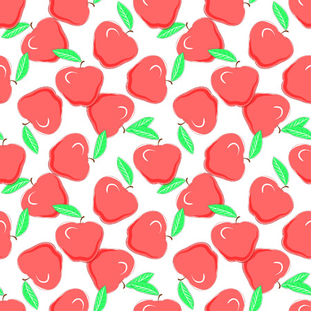 Red apples on white background, seamless pattern. Food fashion design with healthy fruits densely distributed on light backdrop, vector texture.