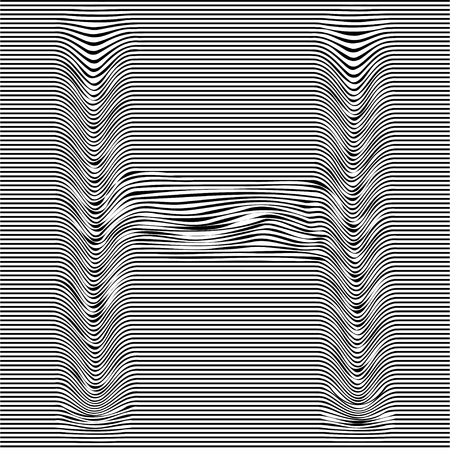 Striped typeface with geometrical pattern letter H of a Latin font. Vector lettering with glitch effect, black horizontal distorted stripes on transparent background. Vectores