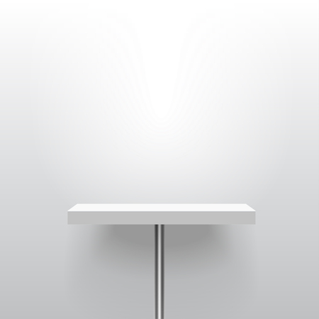 White realistic vector shelf or table on one pole stand. Empty template for product display. Advertising equipment mock-up in 3d style. Exhibition furniture, isolated, light grey colored.