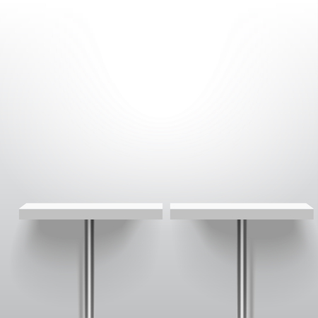 Two white realistic vector shelves or tables on one pole support. Advertising equipment mock-up in 3d style. Empty template for product display. Exhibition furniture, isolated, light grey colored.