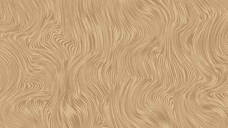 Striped vector background for horizontal wide screen 16x9. Brown curly wooden texture for textile design. Beige doodle lines pattern for web wallpaper.