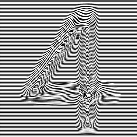 Striped typeface with geometrical pattern character 4 of a numbers font. Vector lettering with glitch effect, black horizontal distorted digital stripes on transparent background. Vectores