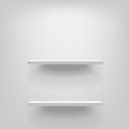 Two white realistic vector shelves attached to the wall vertically. Advertising equipment mock-up in 3d style. Empty template for product display. Exhibition furniture, isolated, light grey colored.