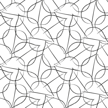 Black on white abstract leaves seamless vector pattern. Dark leaf repeated tiles on light background. Dense line overlapping texture.