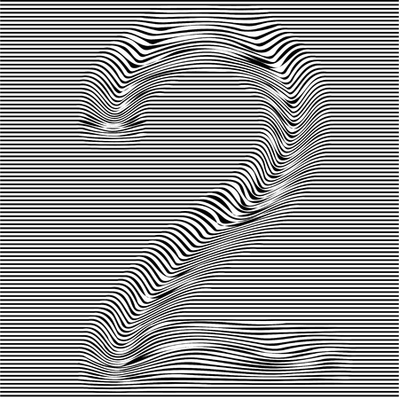 Striped typeface with geometrical pattern character 2 of a numbers font. Vector lettering with glitch effect, black horizontal distorted digital stripes on transparent background.